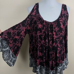 Free People cold shoulder boho blouse size small